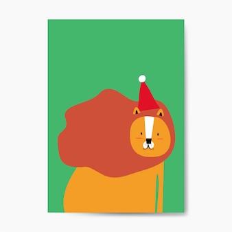 Löwe, der einen weihnachtshut in einem karikaturartvektor trägt
