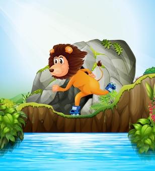 Löwe, der rollschuhnatur spielt