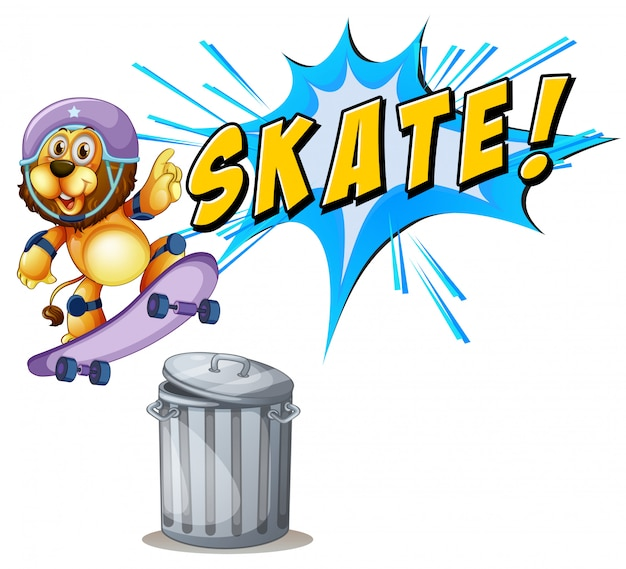 Löwe, der über einen mülleimer skateboard fährt