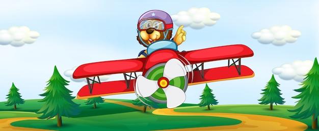Löwe, der weinleseflugzeug reitet