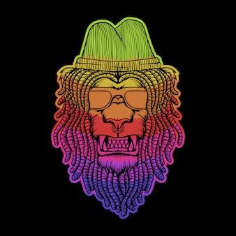 Löwe dreadlocks bunte illustration