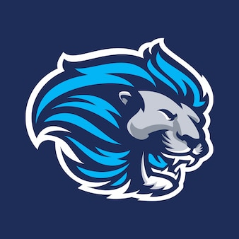 Löwe für das esport- und sportmaskottchenlogo lokalisiert