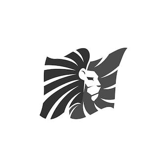 Löwe im flaggen-illustrations-schablonen-emblem-maskottchen
