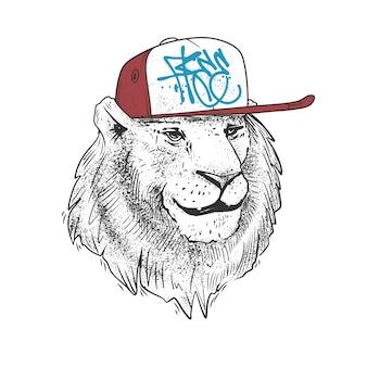 Löwe in der mütze, hand gezeichnet. illustrationsdruck.