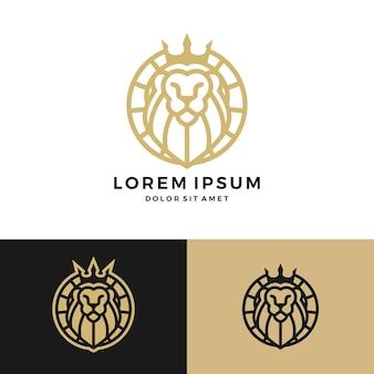 Löwe könig krone runden kreis emblem label logo