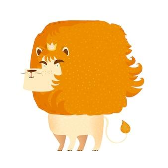 Löwe. königskrone. zoo tiere. tiere isoliert.