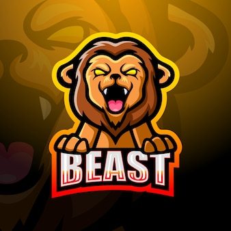 Löwe maskottchen esport illustration