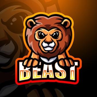 Löwe maskottchen esport logo illustration