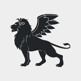 Löwe mit flügel-symbol. geflügelter löwe, logo-vorlage. vektor-illustration.