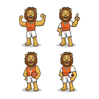 Löwe mit niedlichem maskottchen-designillustrations-vektorschablonensatz der sportausstattung