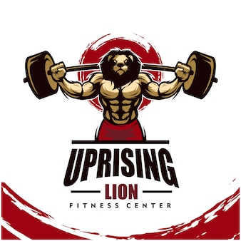 Löwe mit starkem körper, fitnessclub oder fitnessraumlogo.