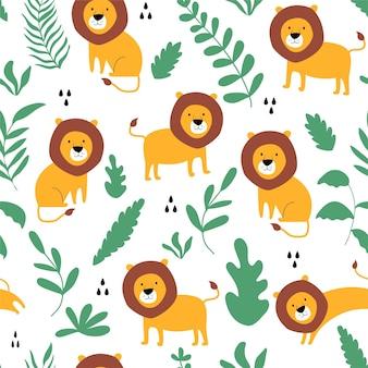 Löwe nahtlose vektor-illustration für ein t-shirt-design vektor-illustration-design für mode-fabri
