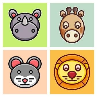 Löwe, nashorn, giraffe und maus