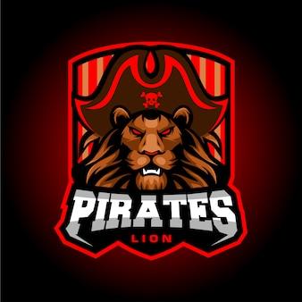 Löwe piraten esport maskottchen logo design
