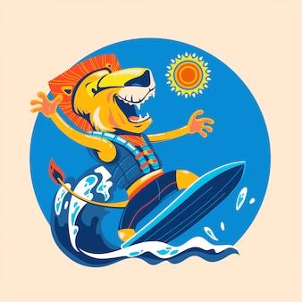 Löwe surft am strand, um die sommerzeit zu genießen. surfzeit
