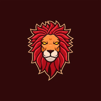 Löwe tierkopf cartoon logo vorlage illustration esport logo gaming premium vektor