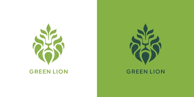 Löwe und blatt logo design premium-vektor