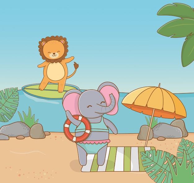 Löwe und elefant am strand