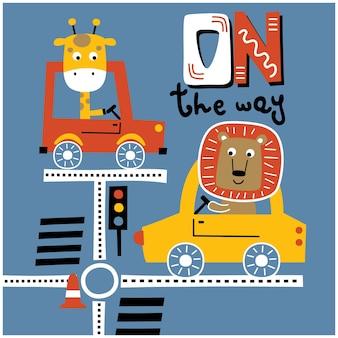 Löwe und giraffe fahren auto lustige tierkarikatur
