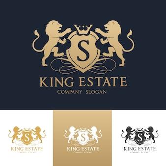 Löwe wappen logo. luxus-logo-set-design für hotel, sportverein, immobilien, spa, modemarke identität