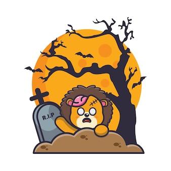 Löwe-zombie-aufstieg des friedhofs süße halloween-cartoon-illustration