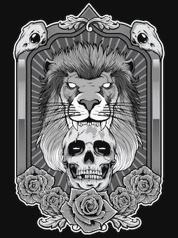 Löweillustration mit dem schädel und heraldischem rahmenhintergrund