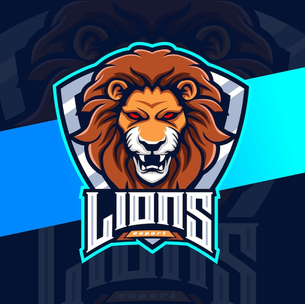 Löwen maskottchen esport logo design