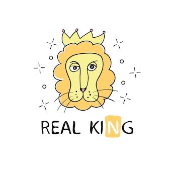 Löwengesichtszeichnung mit typografie reai king - vektorillustrationsdesign - textilgrafik-t-shirt-druck