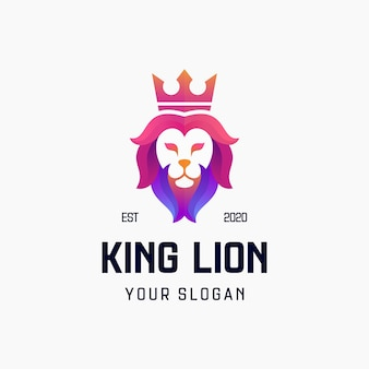Löwenkönig farbverlauf logo design