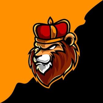 Löwenkönig-kopf-maskottchen-logo