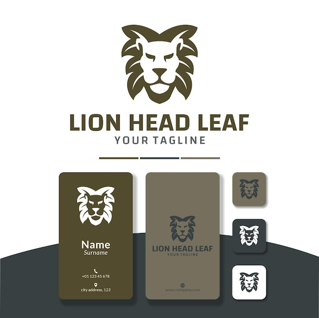 Löwenkopf blatt logo design haar natur