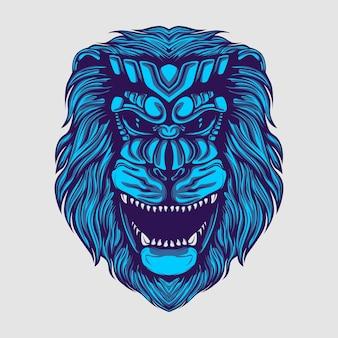 Löwenkopf blaues monster