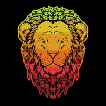 Löwenkopf bunte illustration