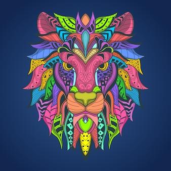 Löwenkopf colorfull t-shirtentwurf