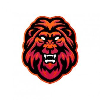 Löwenkopf esports maskottchen-logo-vorlage für verschiedene aktivitäten