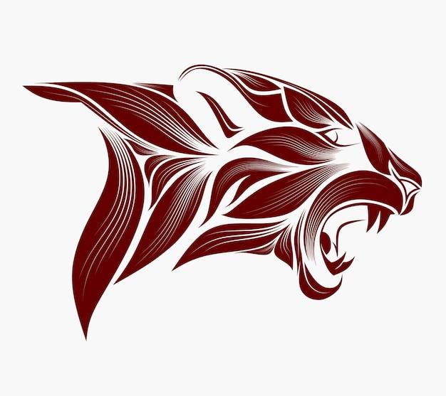 Löwenkopf im detaillierten stil