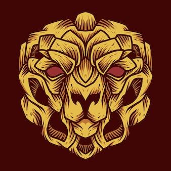 Löwenkopf maskottchen logo illustration
