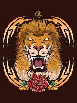 Löwenkopf mit heraldischem hintergrund