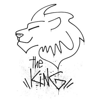 Löwenkopf mit schriftzug der könig-vektor-illustration.