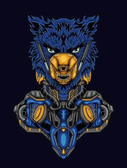 Löwenkopf roboter cyberpunk