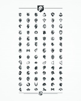 Löwenkopf-sammlungssatz, logo, ikone, vektor