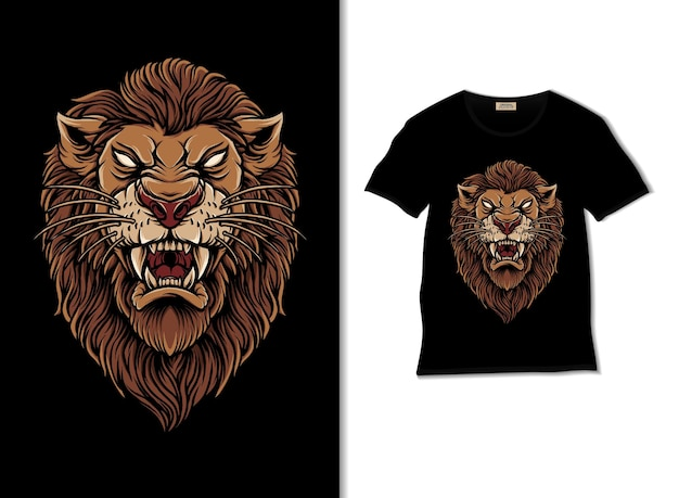 Löwenkopfillustration mit t-shirt design