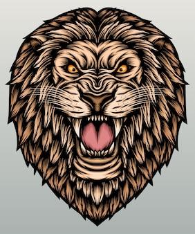 Löwenkopfillustration.