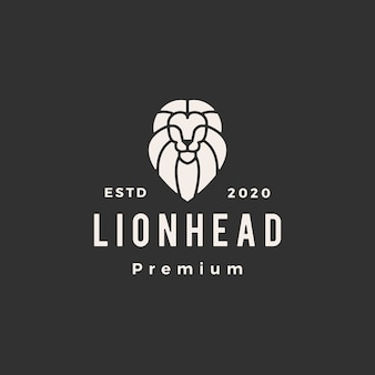 Löwenkopflinie umriss hipster vintage logo symbol illustration