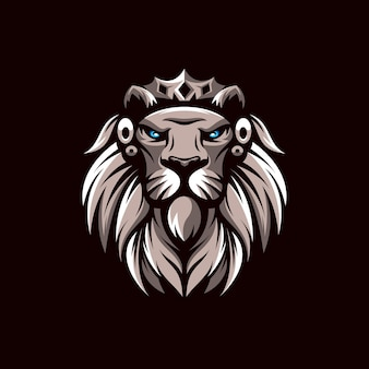 Löwenmaskottchen-logoentwurf lokalisiert auf braun