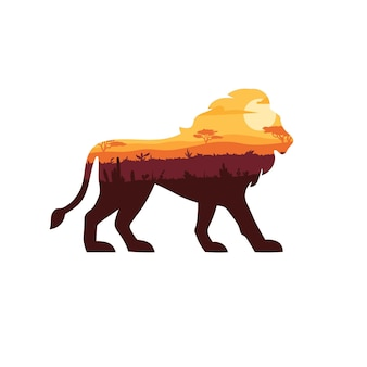 Löwensilhouette mit sonnenuntergangssavannenlandschaft darin.