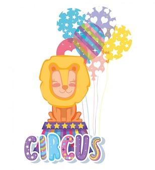 Löwentier mit luftballons zur zirkusshow