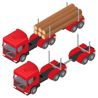 Logging-lkw in isometrisch. ein haufen baumstämme in der karosserie des roten fahrzeugs. die baubranche. abholzung. wald schneiden. frachttransport. vektor-illustration.
