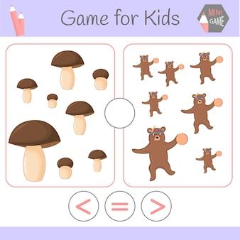 Logik-lernspiel für kinder im vorschulalter. lustige roboter der karikatur. wähle die richtige antwort. größer als, kleiner oder gleich.