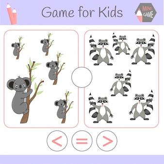 Logik-lernspiel für vorschulkinder lustige roboter der karikatur. wähle die richtige antwort. größer als, kleiner als oder gleich